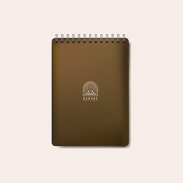 Vetor isolado de caderno marrom espiral maquete