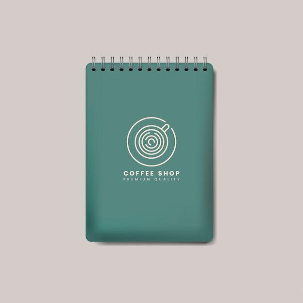 Vetor isolado de espiral caderno verde maquete
