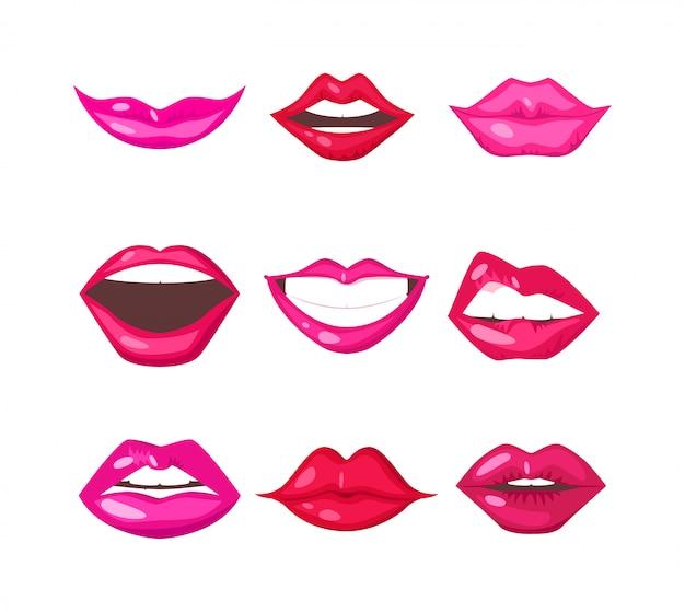 Vetor isolado de lábios de mulher
