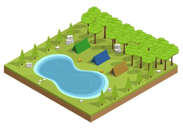 Vetor isométrico de acampamento no parque. recreação ao ar livre perto do lago.