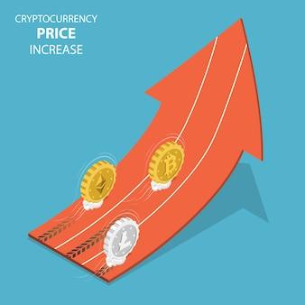 Vetor isométrico de aumento de preço de criptomoeda.