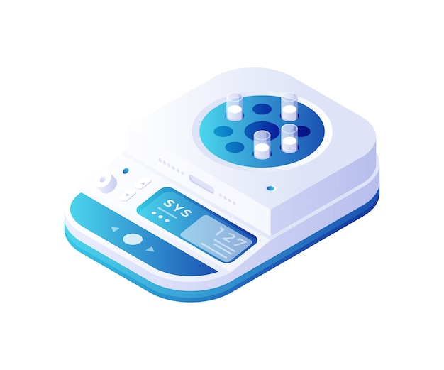 Vetor isométrico de centrifugação de laboratório. painel eletrônico de equipamento científico azul e tubos de ensaio brancos
