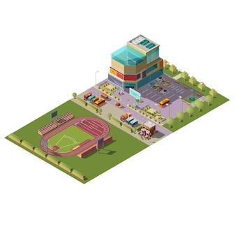 Vetor isométrico de centro comercial e estádio
