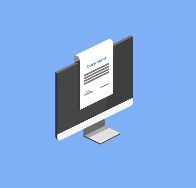 Vetor isométrico de documentos on-line
