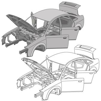 Vetor isométrico de ícones de peças de automóveis
