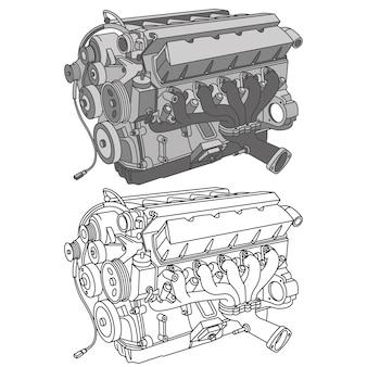 Vetor isométrico de ícones de peças de automóveis Vetor Premium