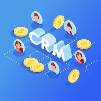 Vetor isométrico do gerenciamento de relacionamento com o cliente.