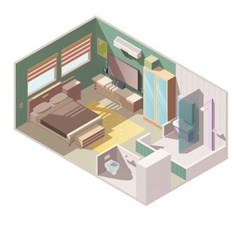 Vetor isométrico interior de apartamento de quarto individual