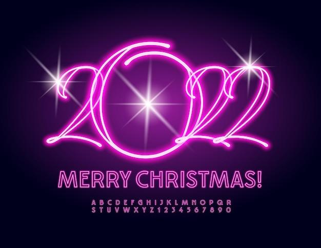 Vetor lindo cartão de felicitações feliz natal 2022 conjunto de letras e números do alfabeto de néon rosa