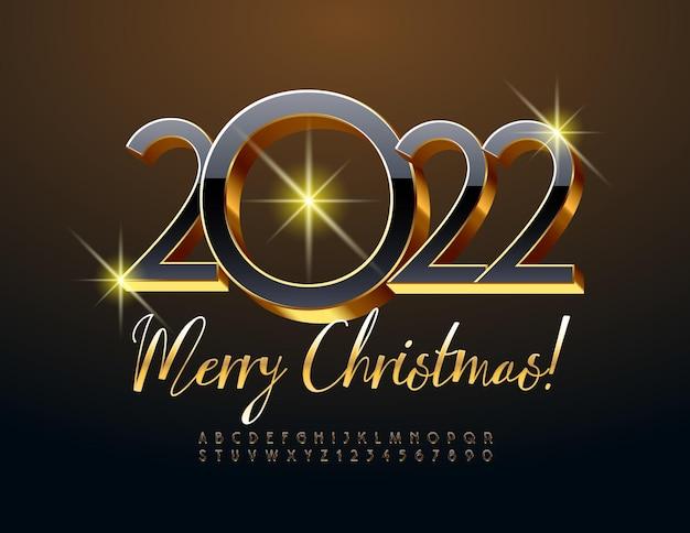 Vetor lindo cartão de felicitações feliz natal 2022 conjunto de letras e números do alfabeto em preto e dourado
