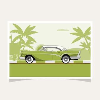 Vetor liso da ilustração do projeto conceptual clássico do carro verde