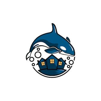 Vetor livre de logotipo de baleia