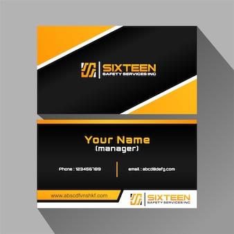 Vetor livre do cartão moderno preto e laranja