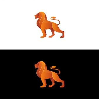 Vetor logotipo de leão. inspiração de logotipo de leão gradiente