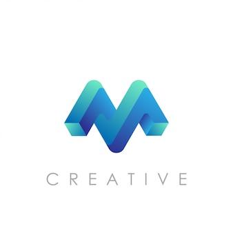 Vetor logotipo m com conceito 3d moderno