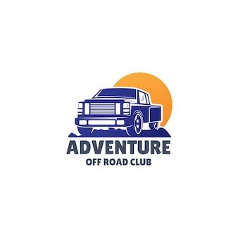 Vetor logotipo off-road com suv