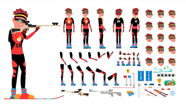 Vetor masculino do jogador do biathlon. conjunto de criação de personagem animado. comprimento total do homem, frente, lado, vista traseira, acessórios, poses, emoções de rosto, gestos. desenhos animados lisos isolados
