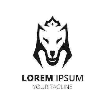 Vetor minimalista do design do logotipo da linha da coroa do lobo