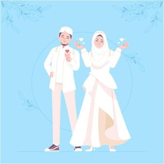 Vetor modelo de personagem de casamento islâmico