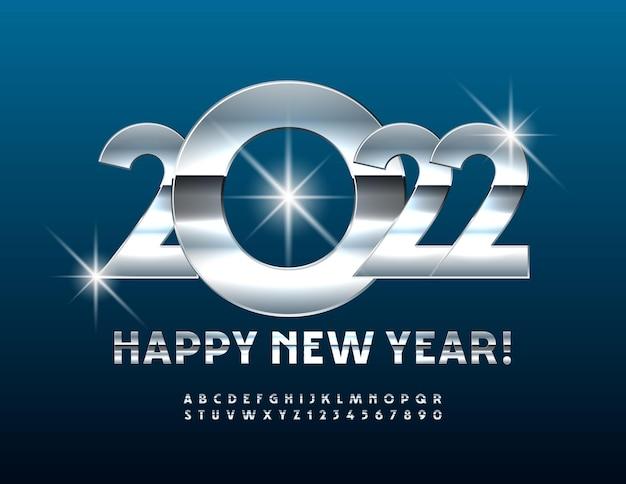 Vetor moderno cartão de felicitações feliz ano novo 2022 conjunto de letras e números do alfabeto prata brilhante