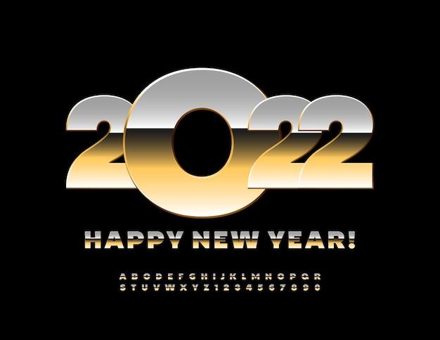 Vetor moderno cartão de felicitações feliz ano novo 2022 conjunto de letras e números em ouro brilhante