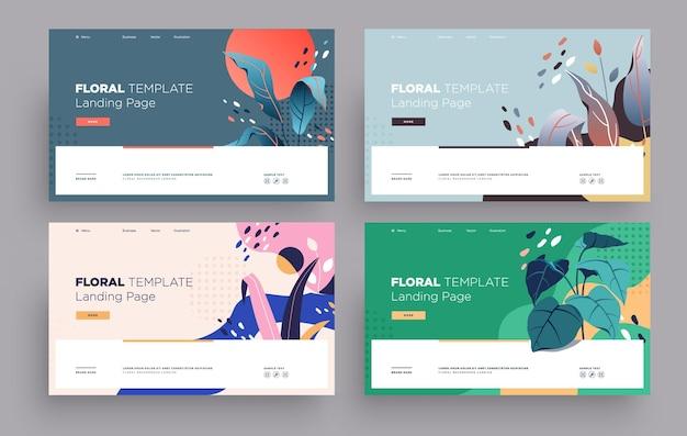 Vetor moderno design plano modelo de página de destino conceito moderno plano floral para site de página da web