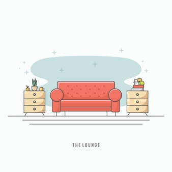 Vetor moderno sala de estar