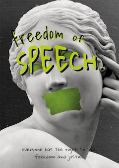 Vetor náiade reclinado & # 39; liberdade de expressão & # 39; pôster de mídia social de movimento social
