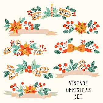 Vetor natal conjunto fitas com flores vintage