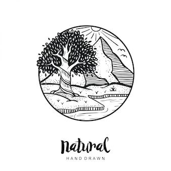 Vetor natural de mão desenhada
