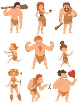 Vetor neanderthal da evolução da ação dos desenhos animados dos povos primitivos do homem das cavernas.
