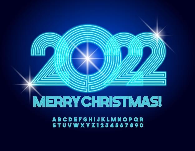 Vetor neon cartão feliz natal 2022 fonte azul brilhante labirinto elétrico alfabeto