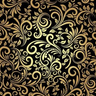 Vetor padrão floral dourado sem costura em estilo retro