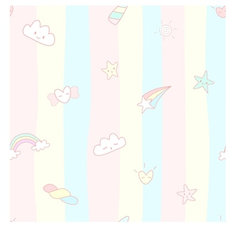 Vetor padrão sem emenda abstrato do conceito de unicórnio arco-íris dos corações do céu da nuvem