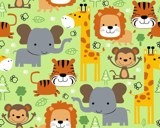 Vetor padrão sem emenda com desenhos animados de animais selvagens de animais