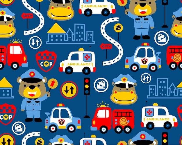 Vetor padrão sem emenda de desenhos animados de equipe de resgate