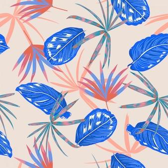 Vetor padrão sem emenda, folhas tropicais coloridas e planta no projeto de verão pastel doce floresta selvagem