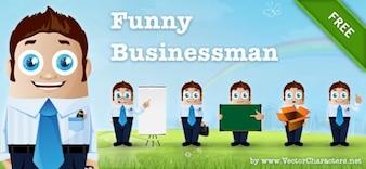Vetor personagens empresário em posturas