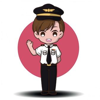 Vetor piloto bonito. personagens de desenhos animados