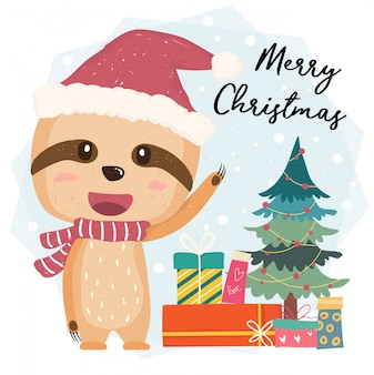Vetor plana bonito preguiça feliz com caixas de presente e árvore de natal com chapéu de papai noel, feliz natal