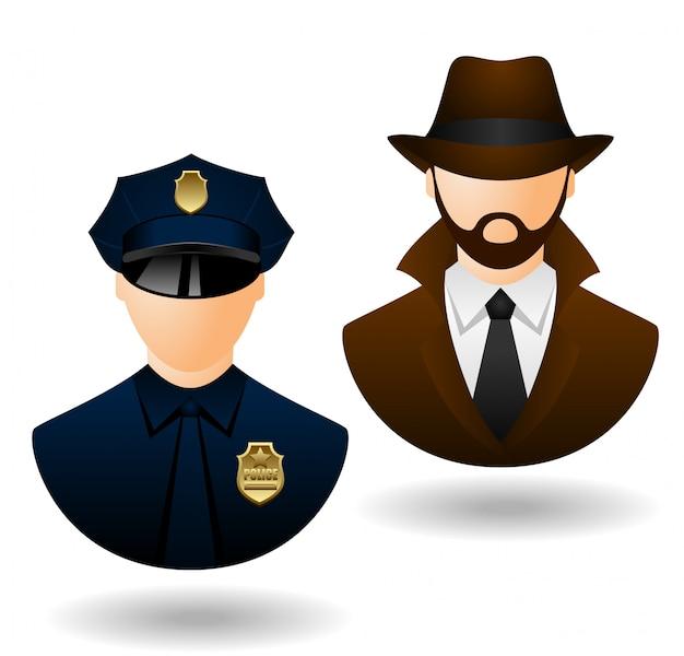 Vetor polícia e detetive pessoas ícones para avatar