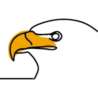 Vetor premium de arte em linha contínua oneline cabeça de águia