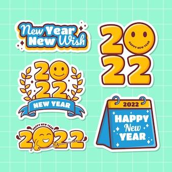 Vetor premium de coleção de adesivos de ano novo