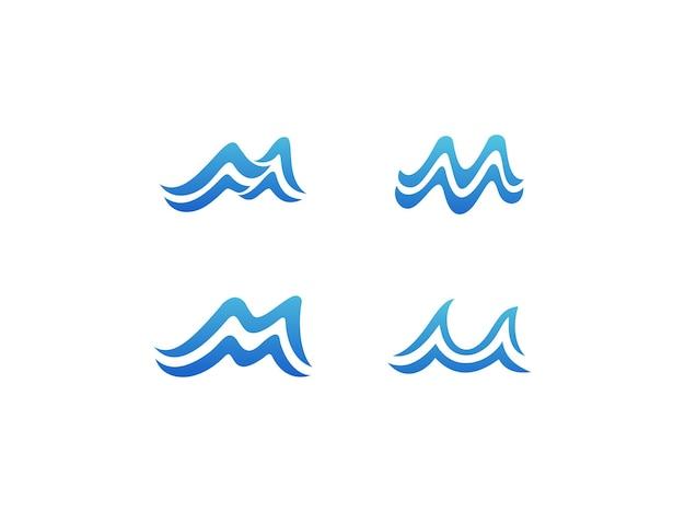 Vetor premium de coleções de design de logotipo de onda letra m