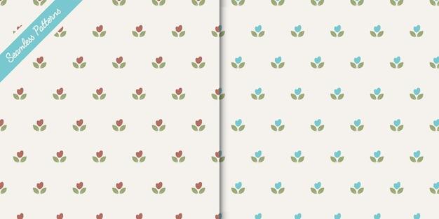 Vetor premium de dois padrões florais fofos sem costura