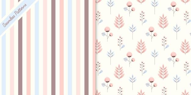 Vetor premium de dois padrões sem emenda de cores pastel fofas