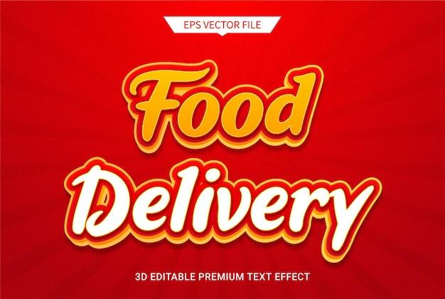 Vetor premium de efeito de estilo de texto editável 3d de delievery de alimentos