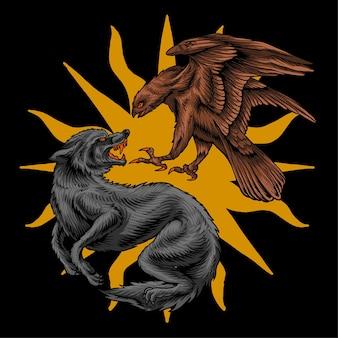 Vetor premium de ilustração de lobo de luta de águia