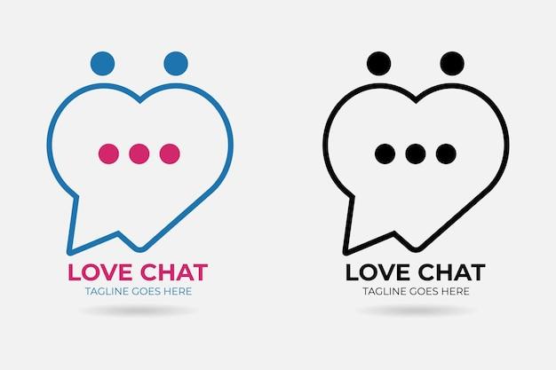 Vetor premium de logotipo de chat de amor