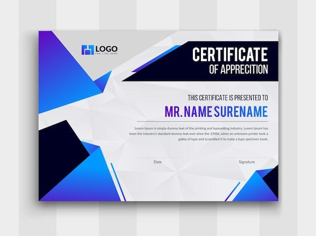 Vetor premium de modelo de realização de certificado